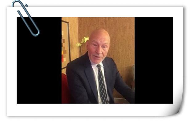 X教授帕特里克·斯图尔特开微博 表示来中国宣传《金刚狼3》很开心