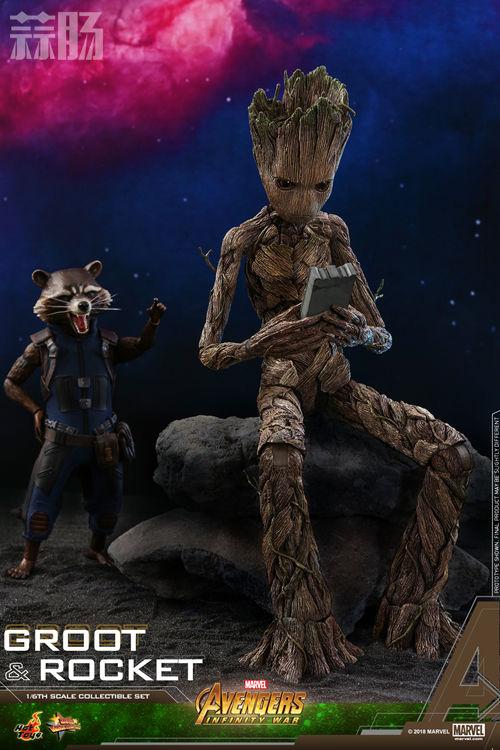 漫威《复仇者联盟3:无限战争》格鲁特及火箭浣熊1:6比例珍藏人偶套装 模玩 第10张