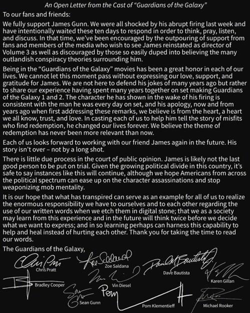 《银河护卫队》卡司集体发声明请求迪士尼雇回导演James Gunn!  漫威 银河护卫队 动漫  第2张