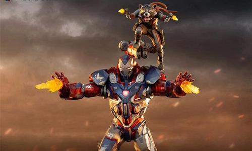 Iron Studios推出《复仇者联盟4:终局之战》1/10钢铁爱国者和火箭熊雕像