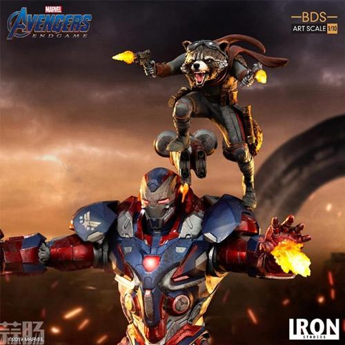 Iron Studios推出《复仇者联盟4:终局之战》1/10钢铁爱国者和火箭熊雕像 模玩 第3张