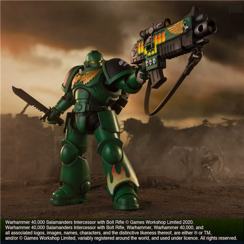 万代推出《战锤40K》火蜥蜴战团星际战士可动手办 模玩 第6张